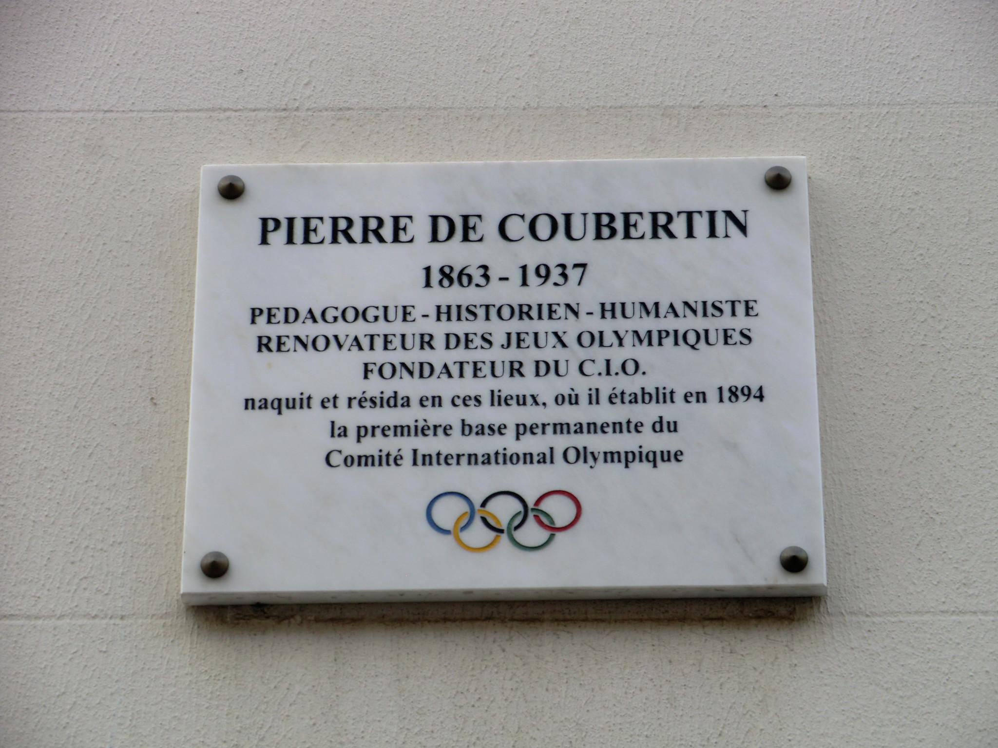 A plaque commemorating the birthplace of Pierre de Coubertin in Paris ©Philip Barker