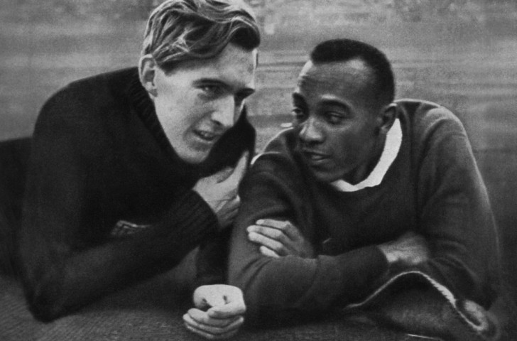 Germany's Luz Long and Jesse Owens pictured during competition at the 1936 Berlin Olympics ©Getty Images
