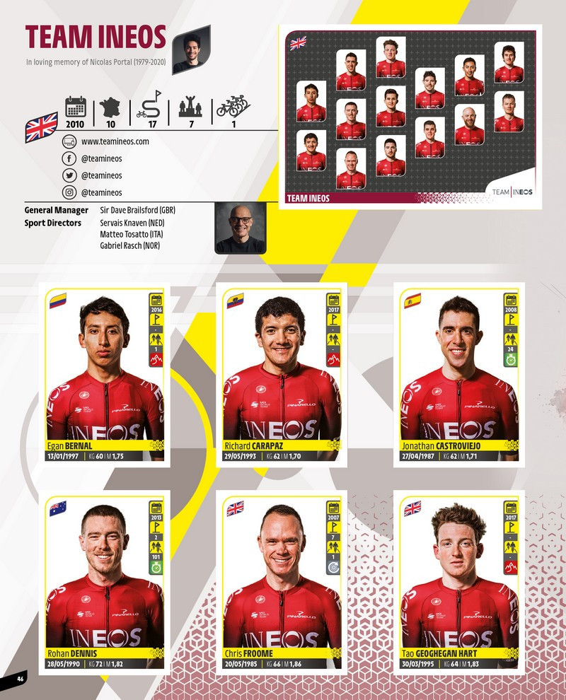 The Panini Tour de France sticker and card collection features Britain's Team Ineos, who under its previous sponsor name of Team Sky provided six of the last eight winners of the famous race ©Panini