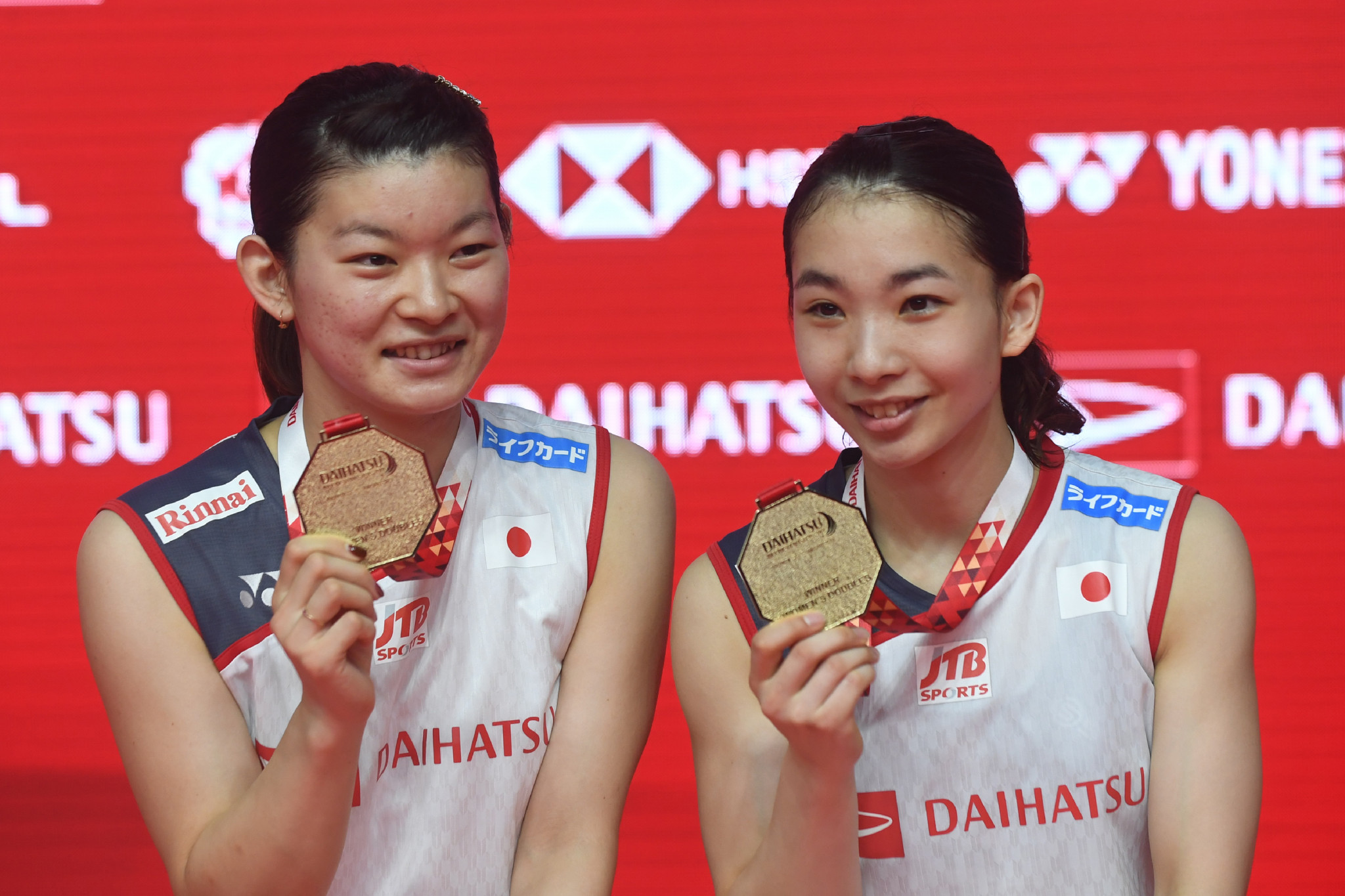 Ayaka Takahashi, left, has announced her retirement from badminton ©Getty Images