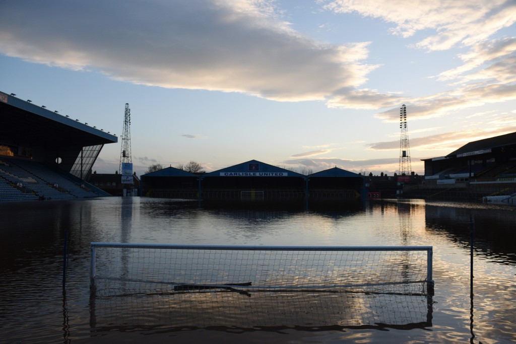 Carlisle United's stadium Brunton Park, located in Cumbria, has been affected by the floods