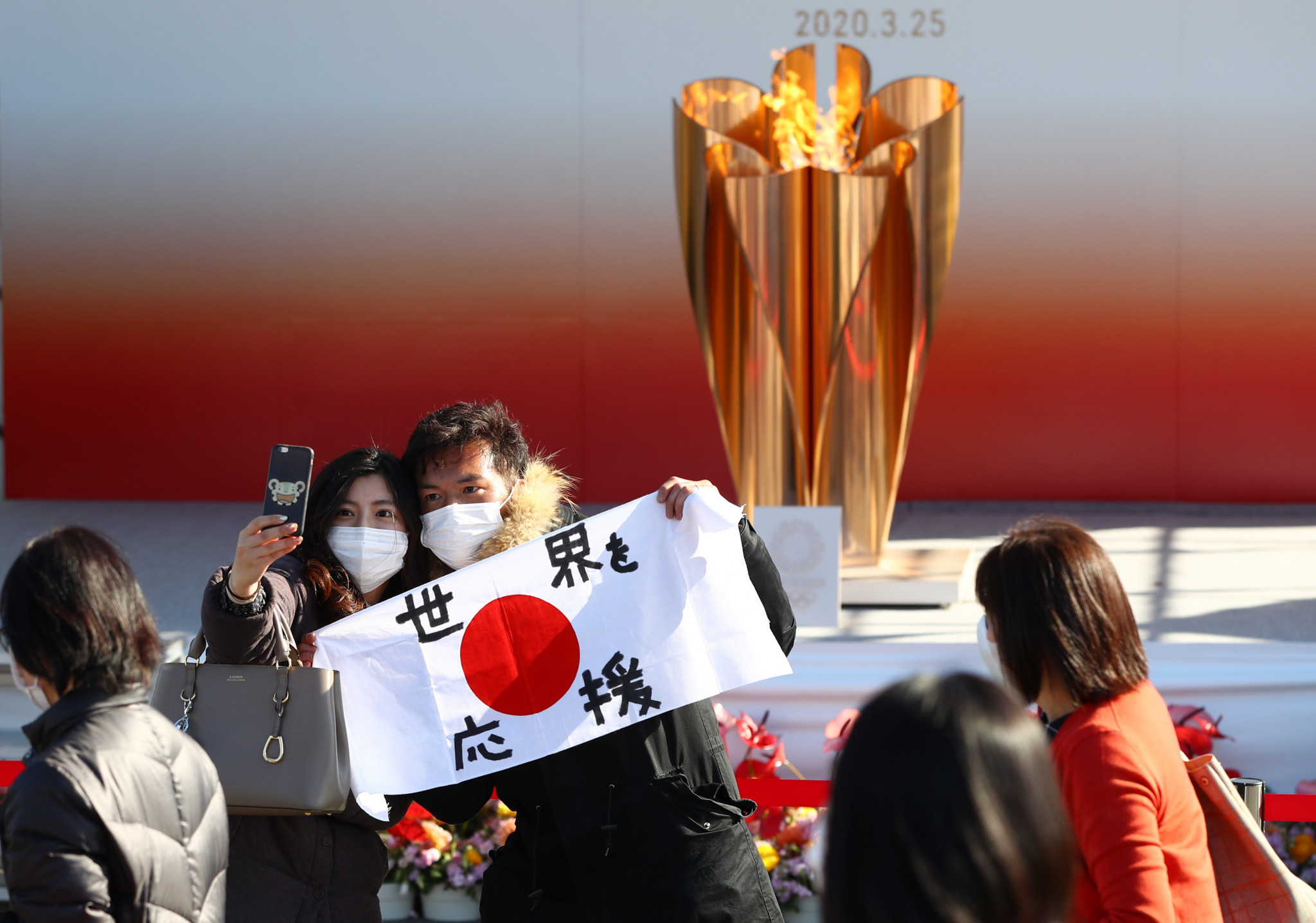 The Olympic Flame proved popular after arriving in Japan earlier this year ©Getty Images