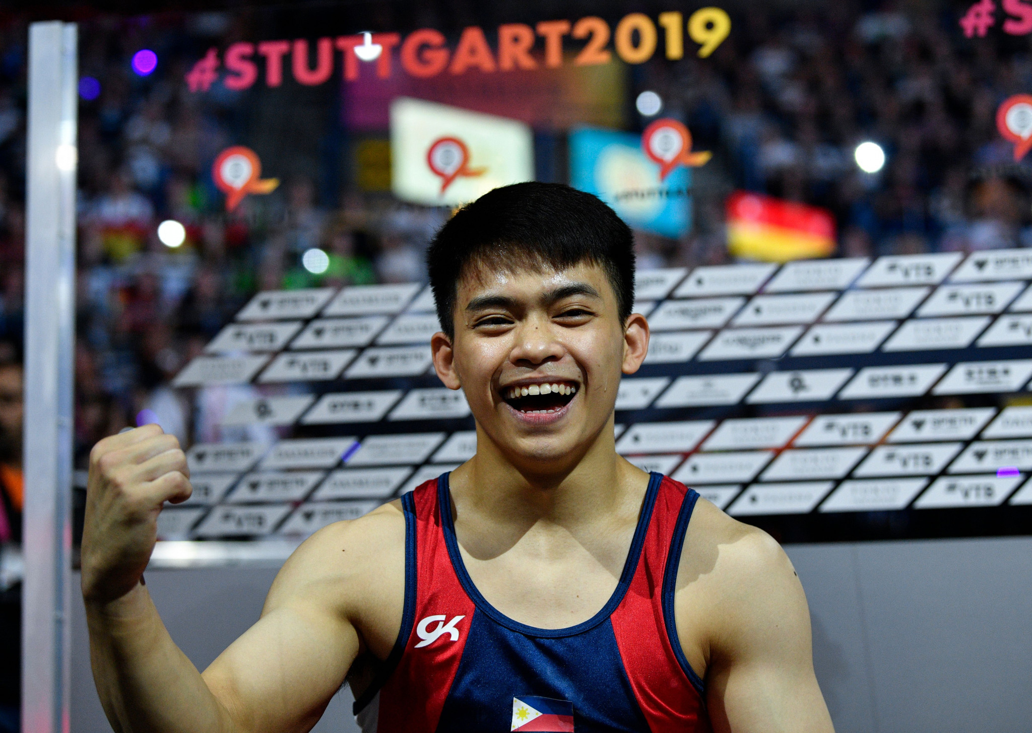 Carlos Yulo became the first Filipino to earn a title at the World Gymnastics Championships after winning the floor event last year ©Getty Images