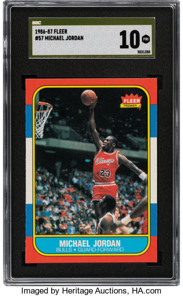 A rookie Michael Jordan trading card set a world record at the Heritage Auctions sale ©Heritage Auctions
