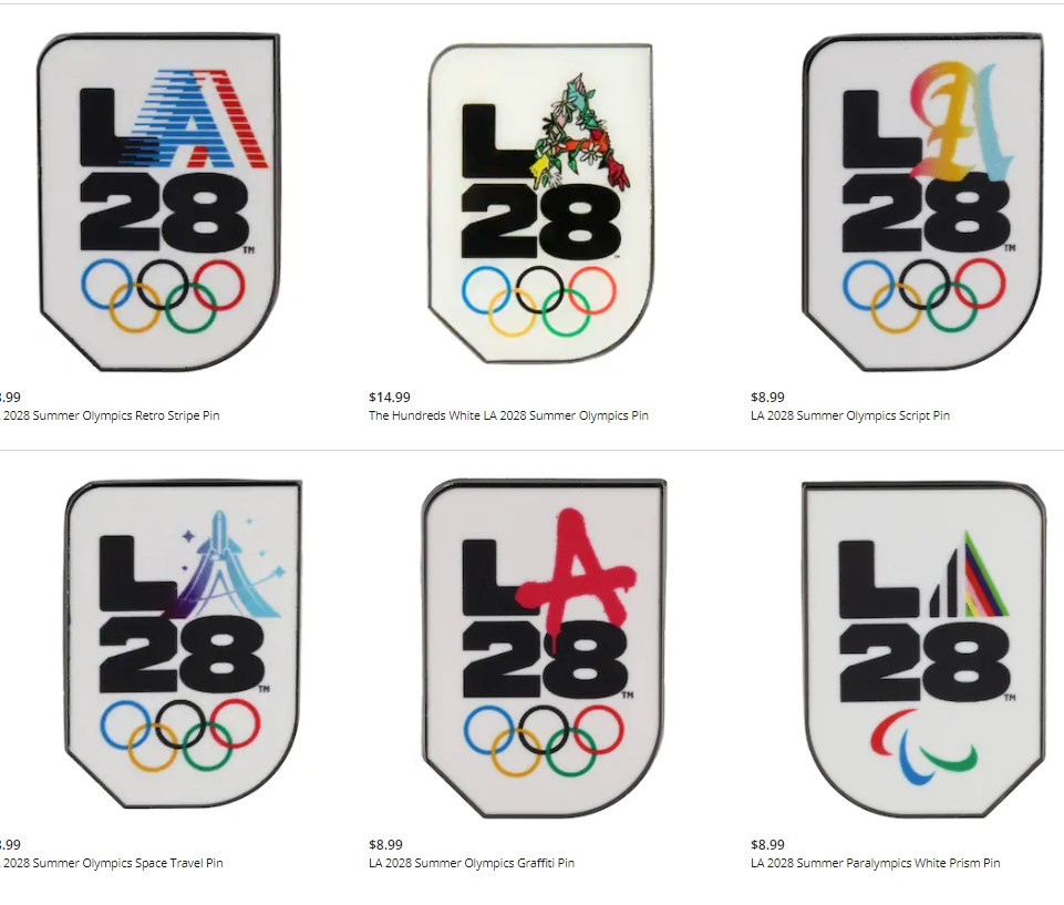 There are a total of six new pins, each featuring a different Los Angles 2028 logo, now available ©LA28