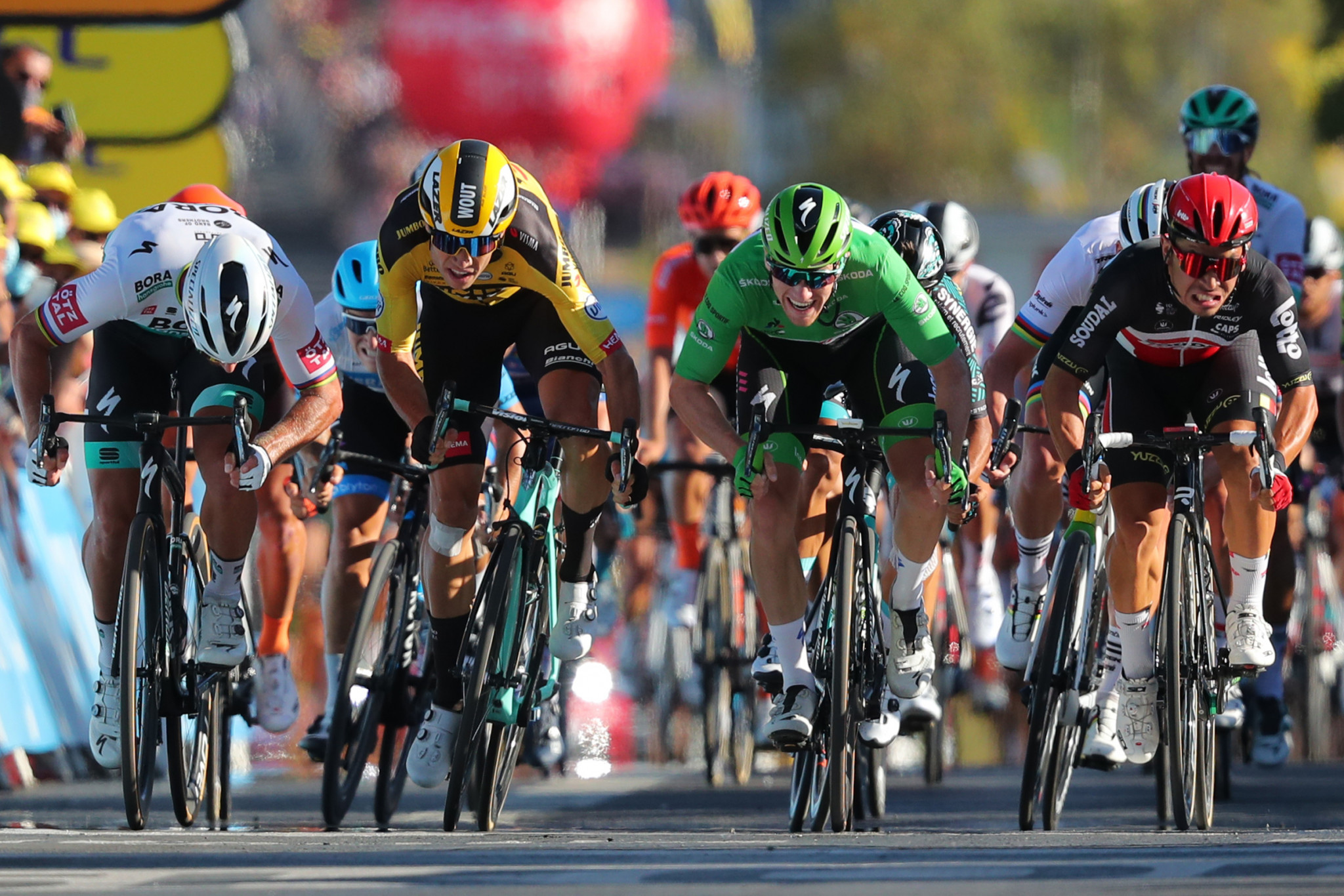Peter Sagan, left, moments before shoulder barging Wout van Aert, second from left, in the final sprint ©Getty Images