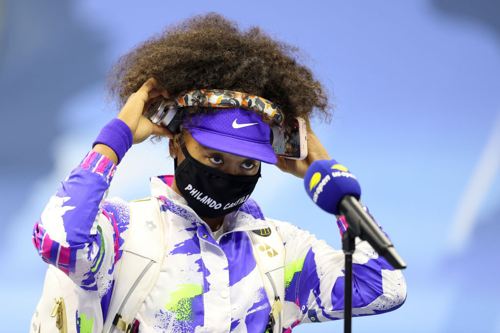 Japan's Osaka continued her daily tradition of wearing a mask bearing the name of a victim of racial injustice ©Getty Images