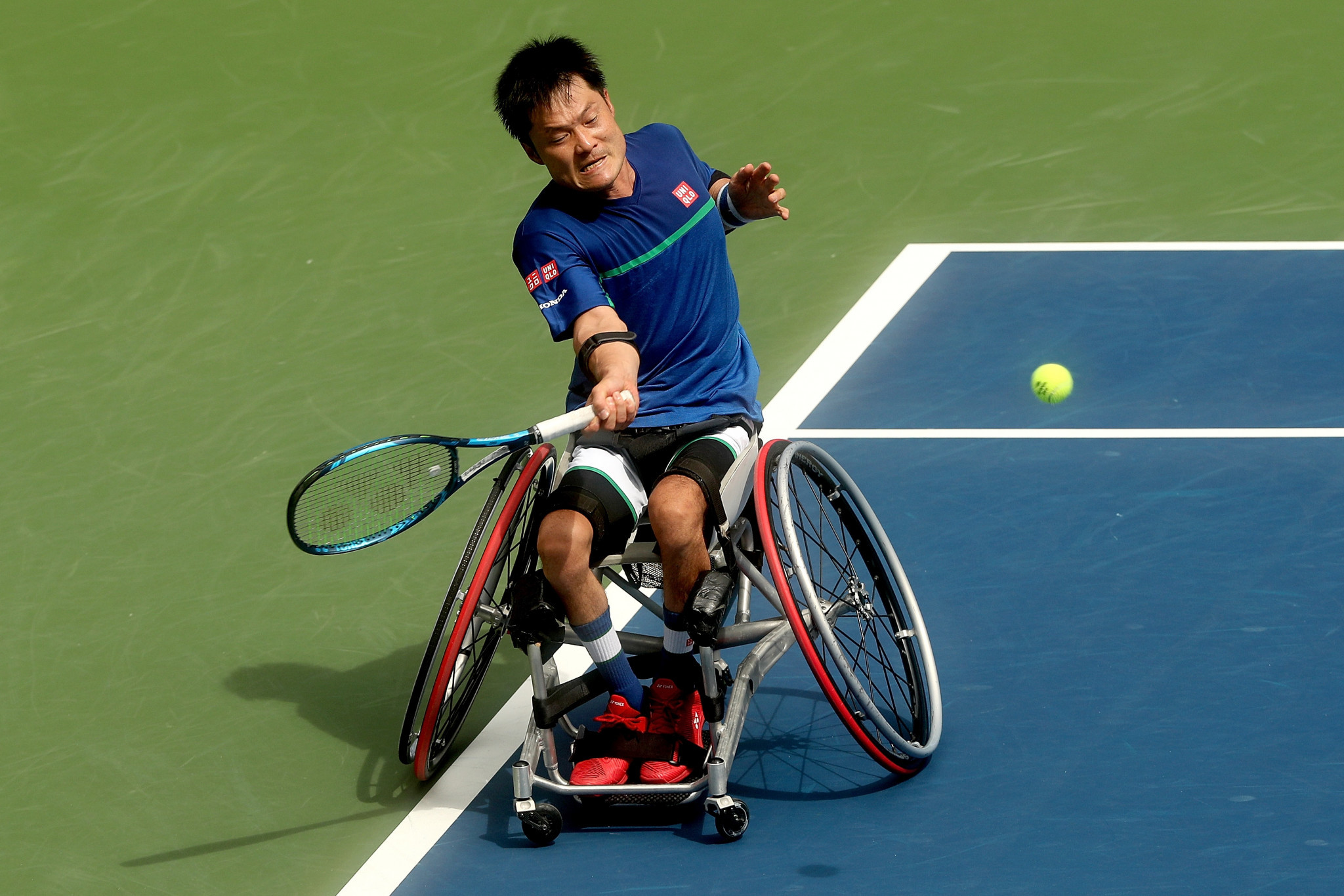 Men's singles top seed Shingo Kunieda recovered from losing the first set against Joachim Gerard to win and reach the final ©Getty Images