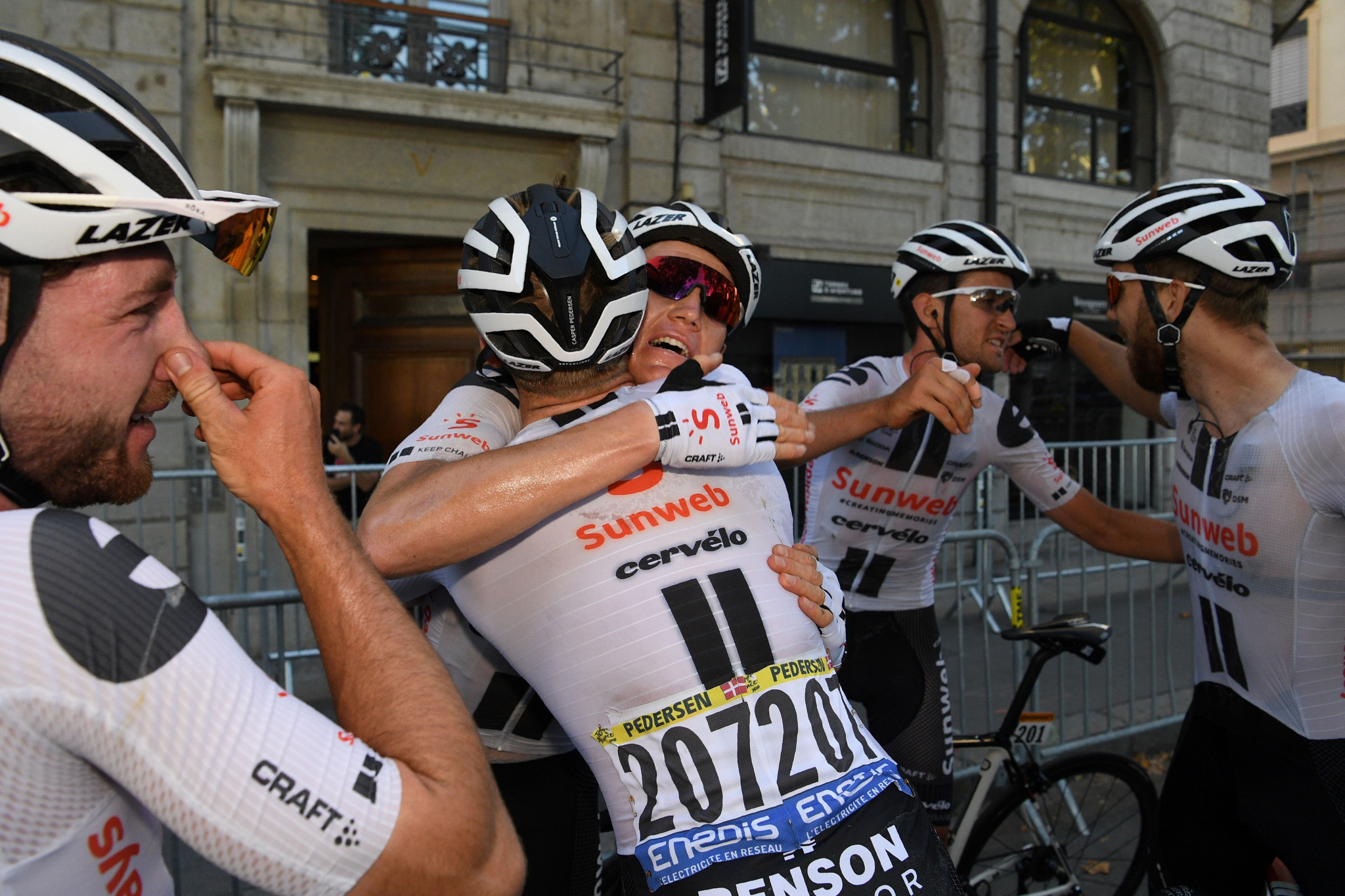 The Sunweb rider was congratulated by his team-mates at the finish ©Getty Images