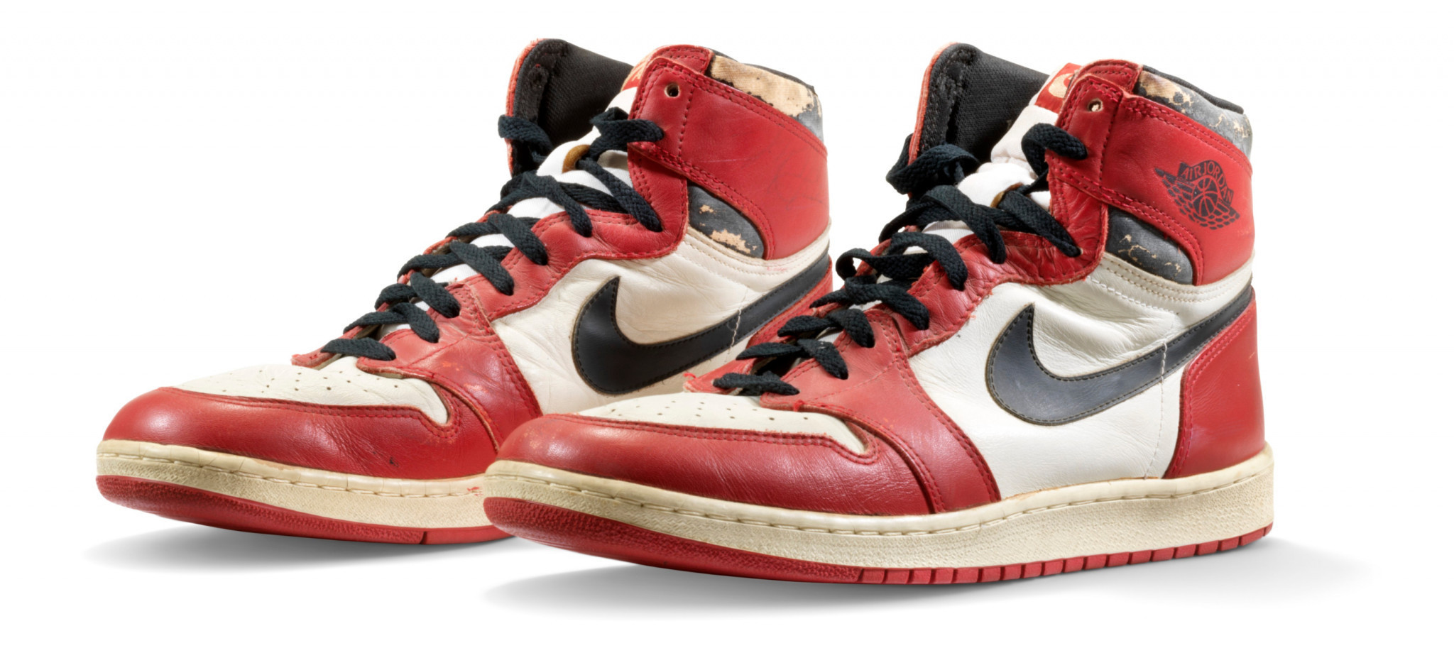 A rare pair of trainers worn by Michael Jordan during his rookie season have sold for a record $615,000 at auction ©Christie's