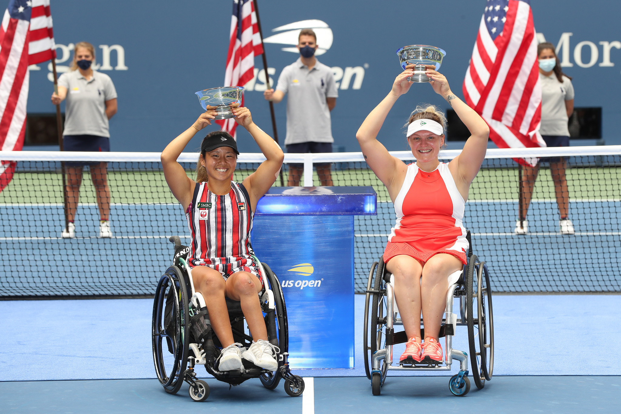 Yui Kamiji (left) and her partner Jordanne Whiley won the women's wheelchair doubles title after beating Dutch top seeds Buis and de Groot ©Getty Images