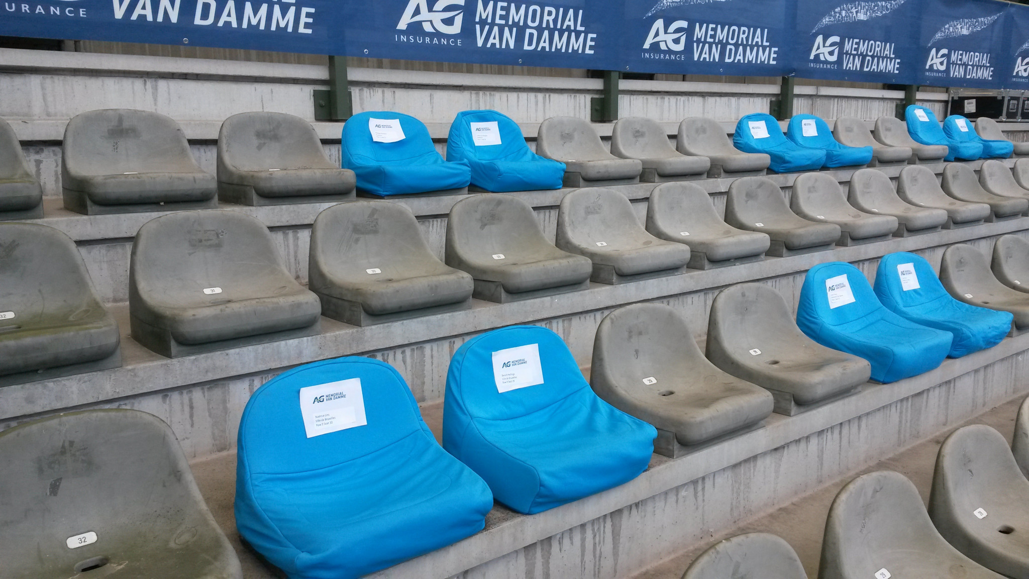 Small sections of the King Baudouin Stadium offered socially-distanced seating for the lucky few ©ITG