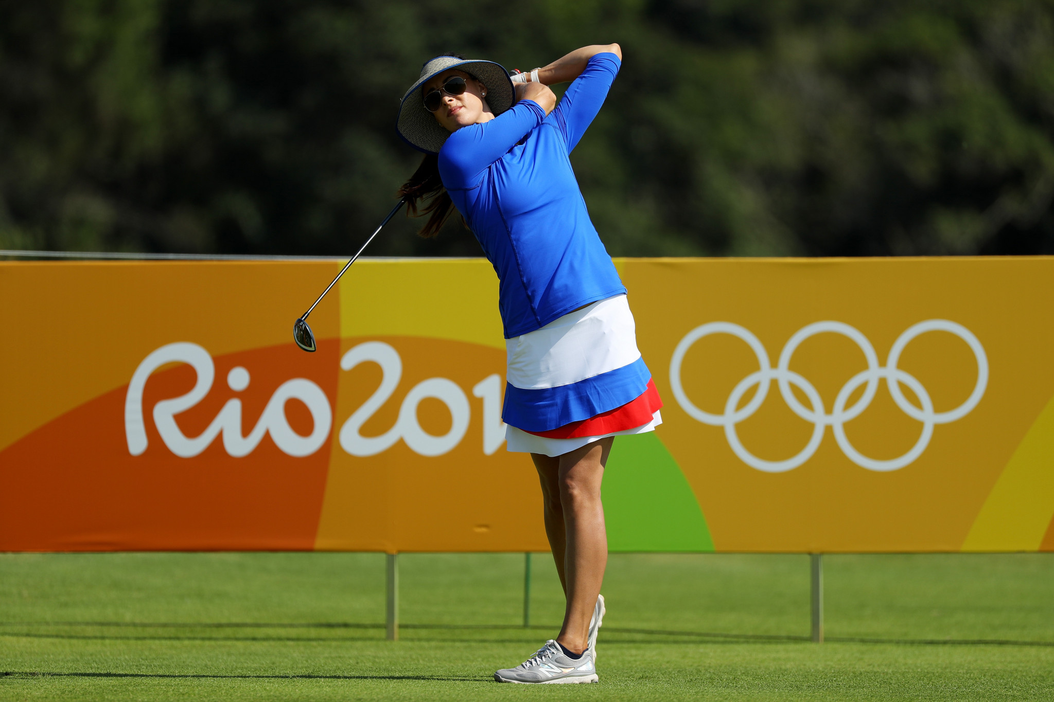 Maria Verchenova, Russia's only representative in the Olympic golf tournament at RIo 2016, hit a hole-in-one in the fourth round as she set a course record of 62 to finish 15th ©Getty Images
