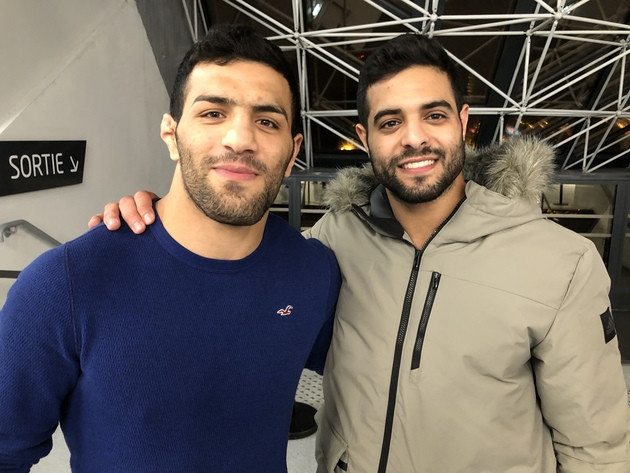 Israel's Sagi Muki, left, has posted a message of support for Saeid Mollaei, who fled Iran when he was ordered to ensure he did not fight him at last year's World Championships in Tokyo ©Sagi Muki