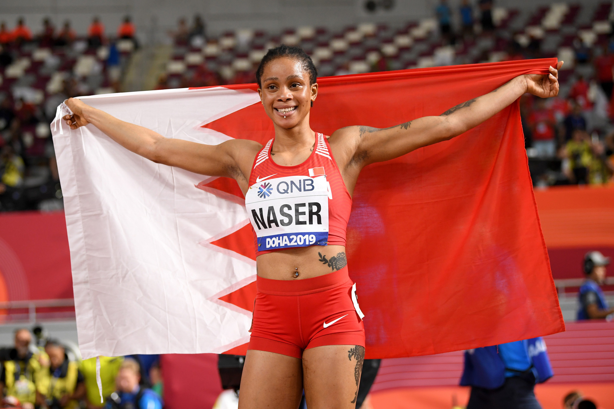 Salwa Eid Naser is another runner who switched allegiance to Bahrain but is now accused of a doping offence which could cost her the 400m gold medal she won at last year's World Athletics Championships in Doha ©Getty Images