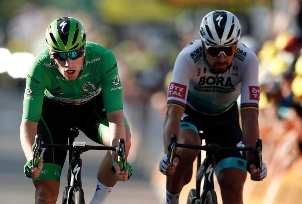 Sam Bennett of Ireland and Slovakia's Peter Sagan were locked in an intriguing battle on stage 19 ©Getty Images