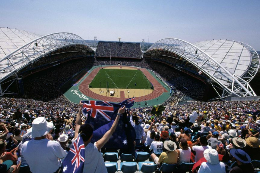 A  record crowd of 110,000 were packed into Stadium Australia for
