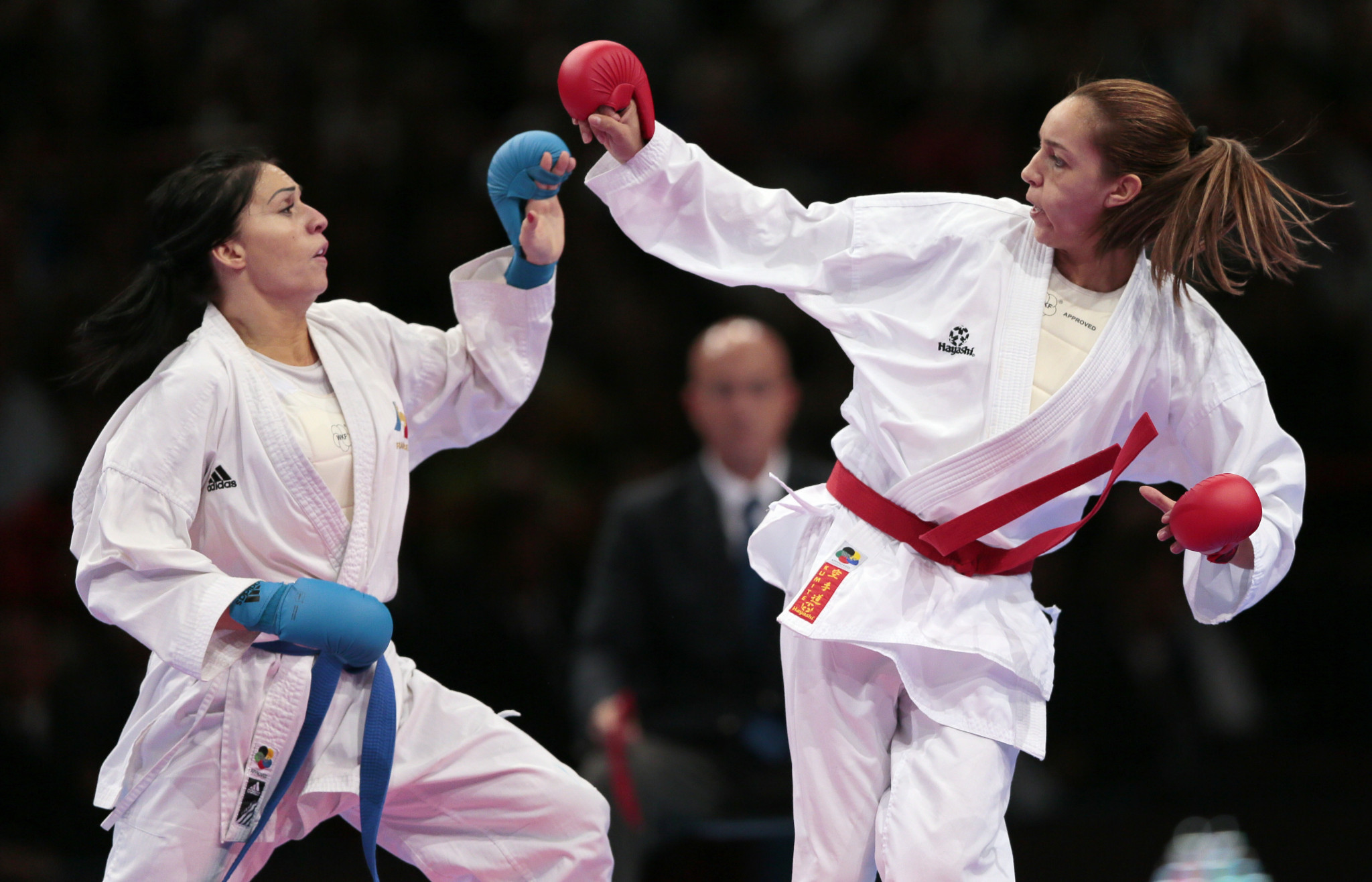 Boutheina Hasnaoui, right, won silver at the 2012 World Karate Championships in Paris ©Getty Images