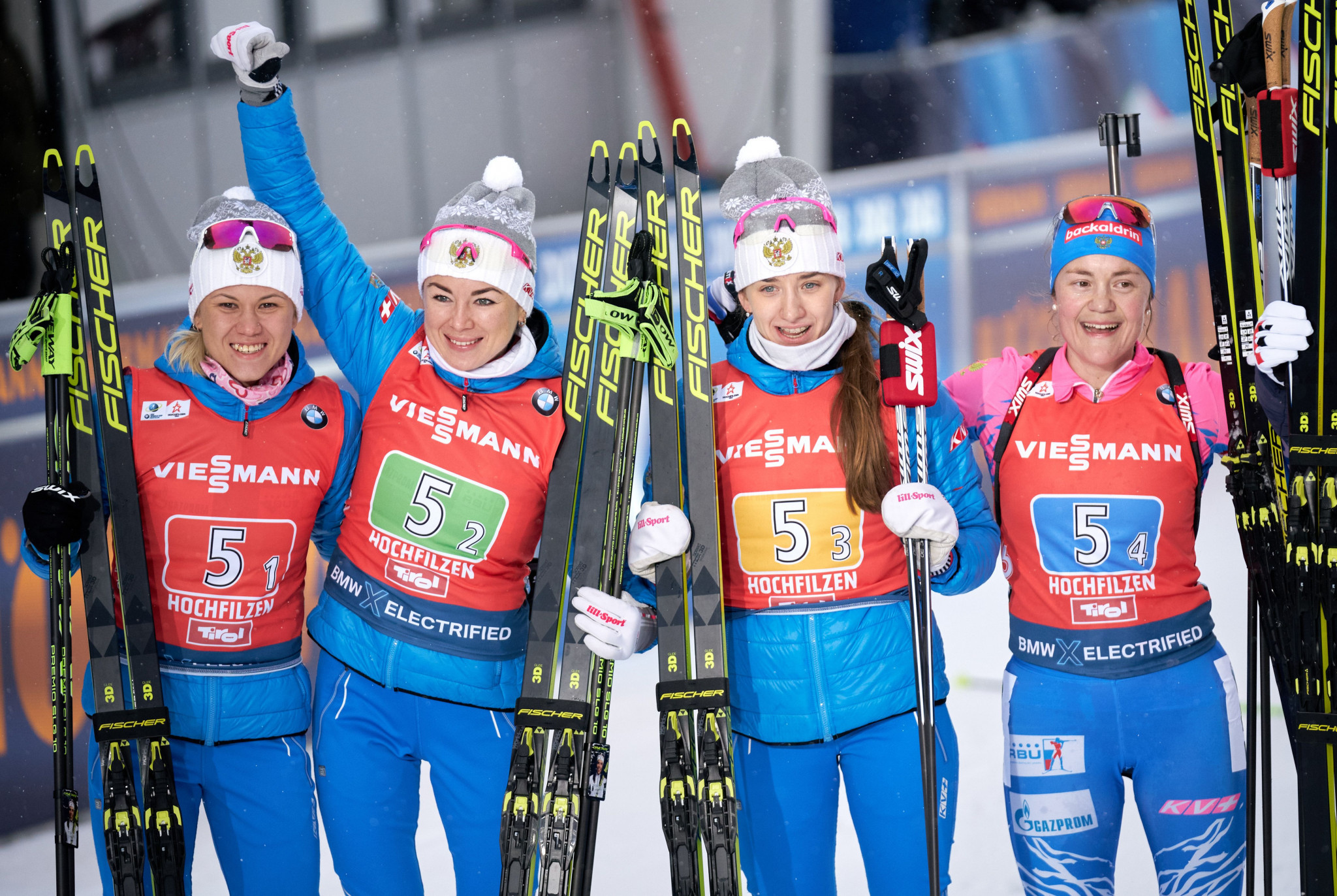 Kristina Reztsova, left, was part of Russia's women's 4x6km relay team that finished second in Hochfilzen last year ©Getty Images