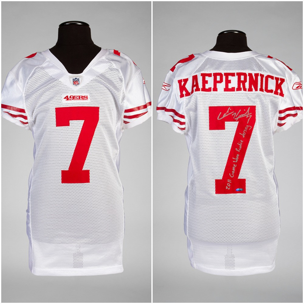 Colin Kaepernick's signed jersey from his NFL debut for San Francisco 49ers in 2011 could fetch as much as $100,000 at auction on December 4, it is being estimated ©Julien's Auctions