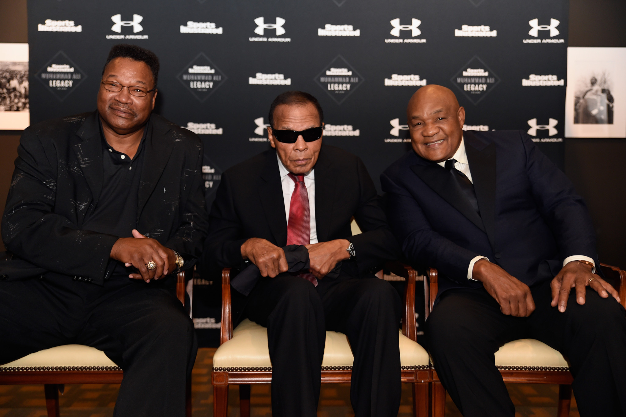Larry Holmes, left, and Muhammad Ali, centre, with George Foreman in 2015 ©Getty Images