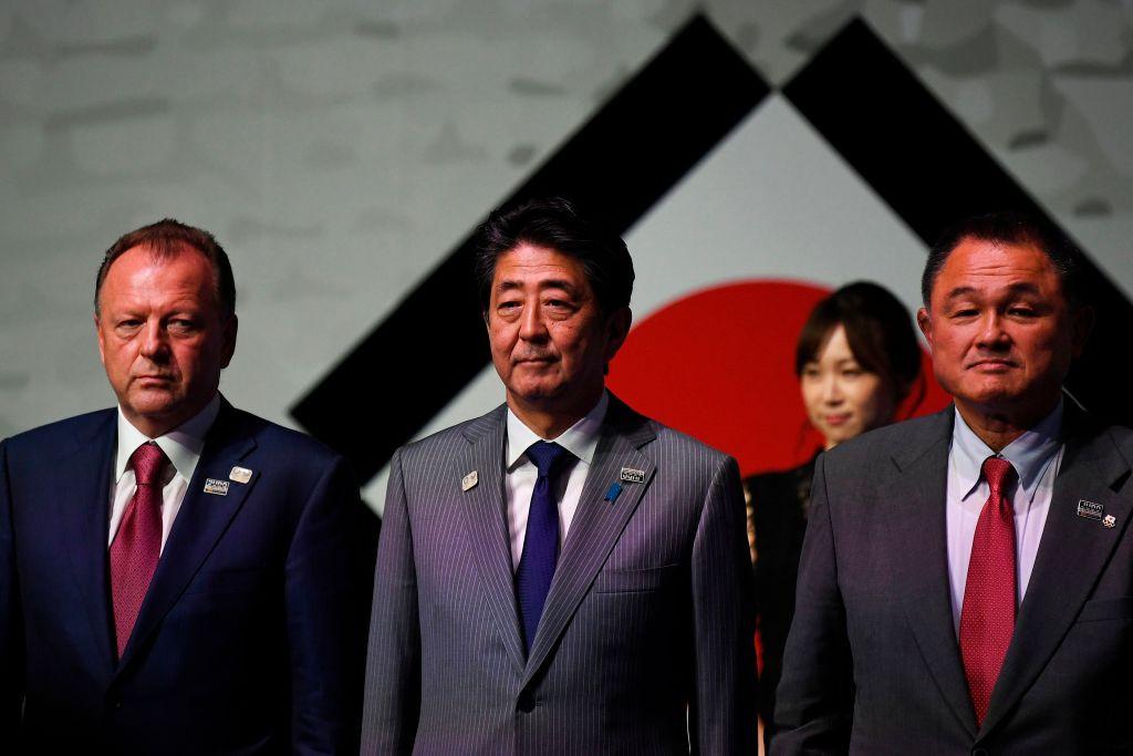 IJF President Marius Vizer, left, had discussed the situation regarding the Tokyo Grand Slam with Yasuhiro Yamshita, far right ©Getty Images