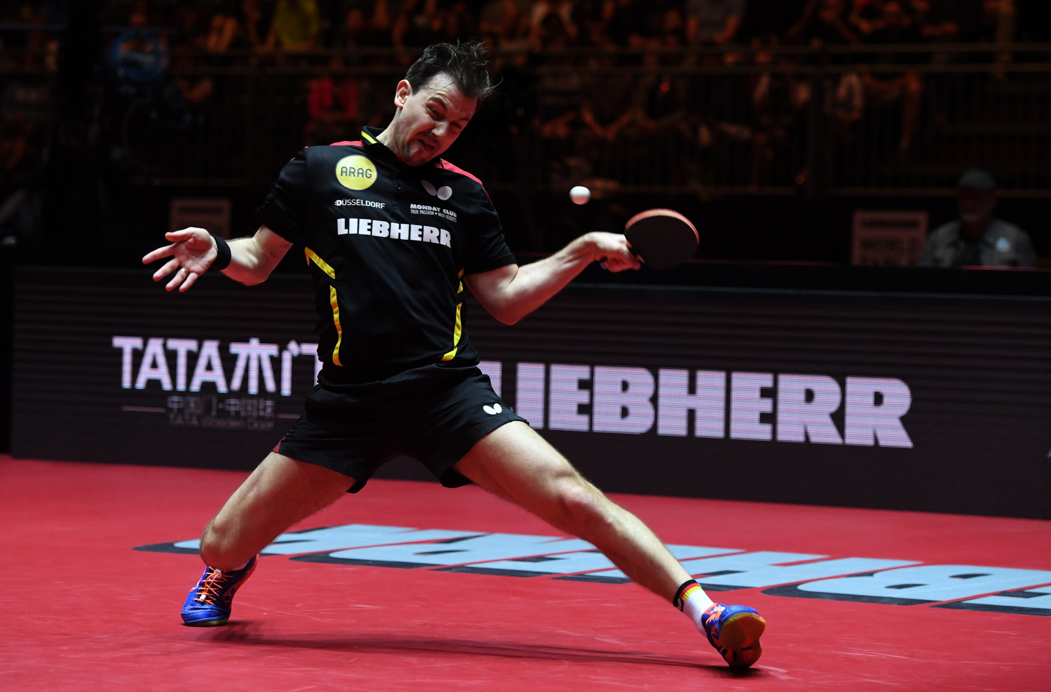 Germany's Timo Boll in action during the 2017 World Championships in Düsseldorf - the last time it was held in the German city ©Getty Images
