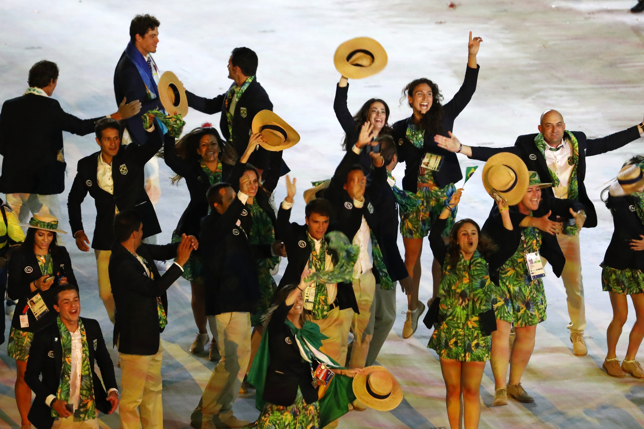 Brazil's team parade during the Opening Ceremony of the Rio 2016 Olympics ©Getty Images