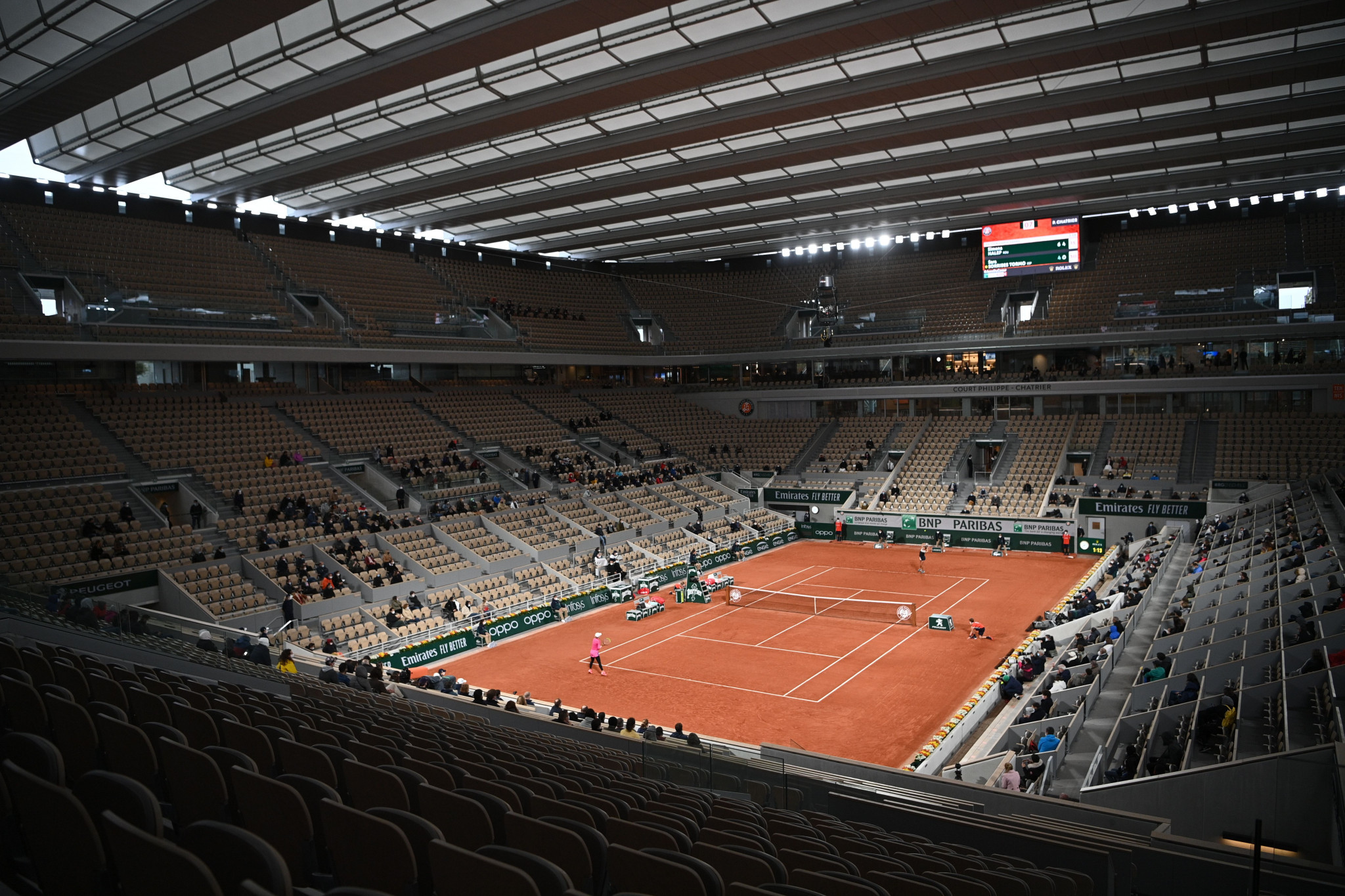 Only 1,000 spectators were admitted to Roland Garros due to the coronavirus pandemic ©Getty Images