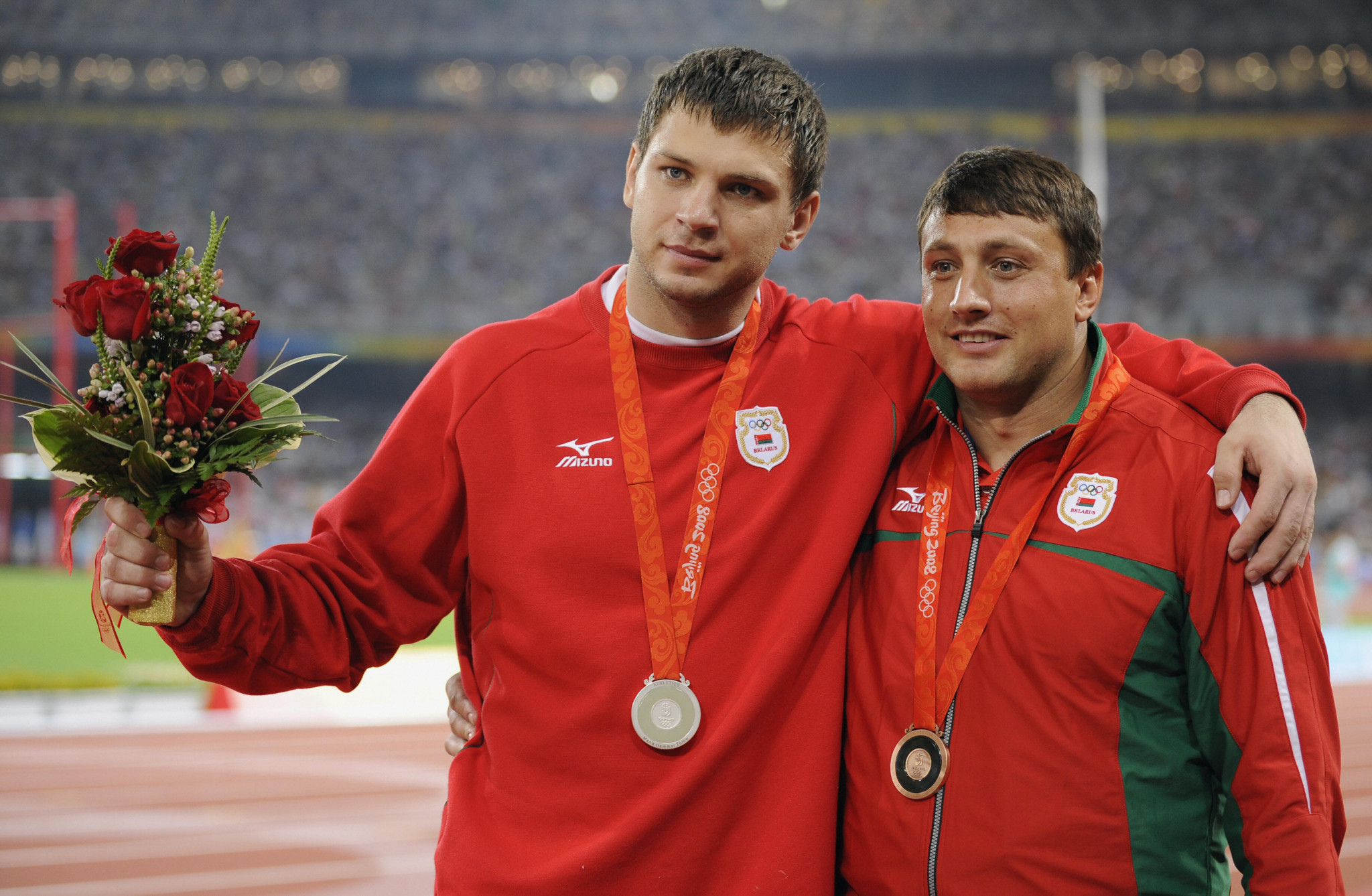 Ivan Tsikhan, right, has replaced Vadim Devyatovskiy, left, as President of the Belarus Athletic Federation - both were stripped of the medals they won at Beijing 2008 after failing drugs tests but successfully appealed to have them returned ©Getty Images