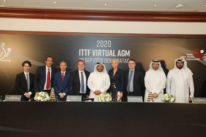 The ITTF AGM was held virtually, with some officials attending in person in Doha ©ITTF