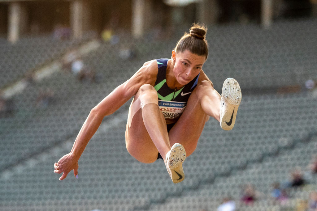 Ukraine's Maryna Bekh-Romanchuk has won two Diamond League long jumps in the controversial Final Three format ©Getty Images