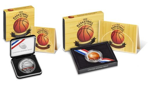 US Mint release historic Basketball Hall of Fame commemorative coins in colour