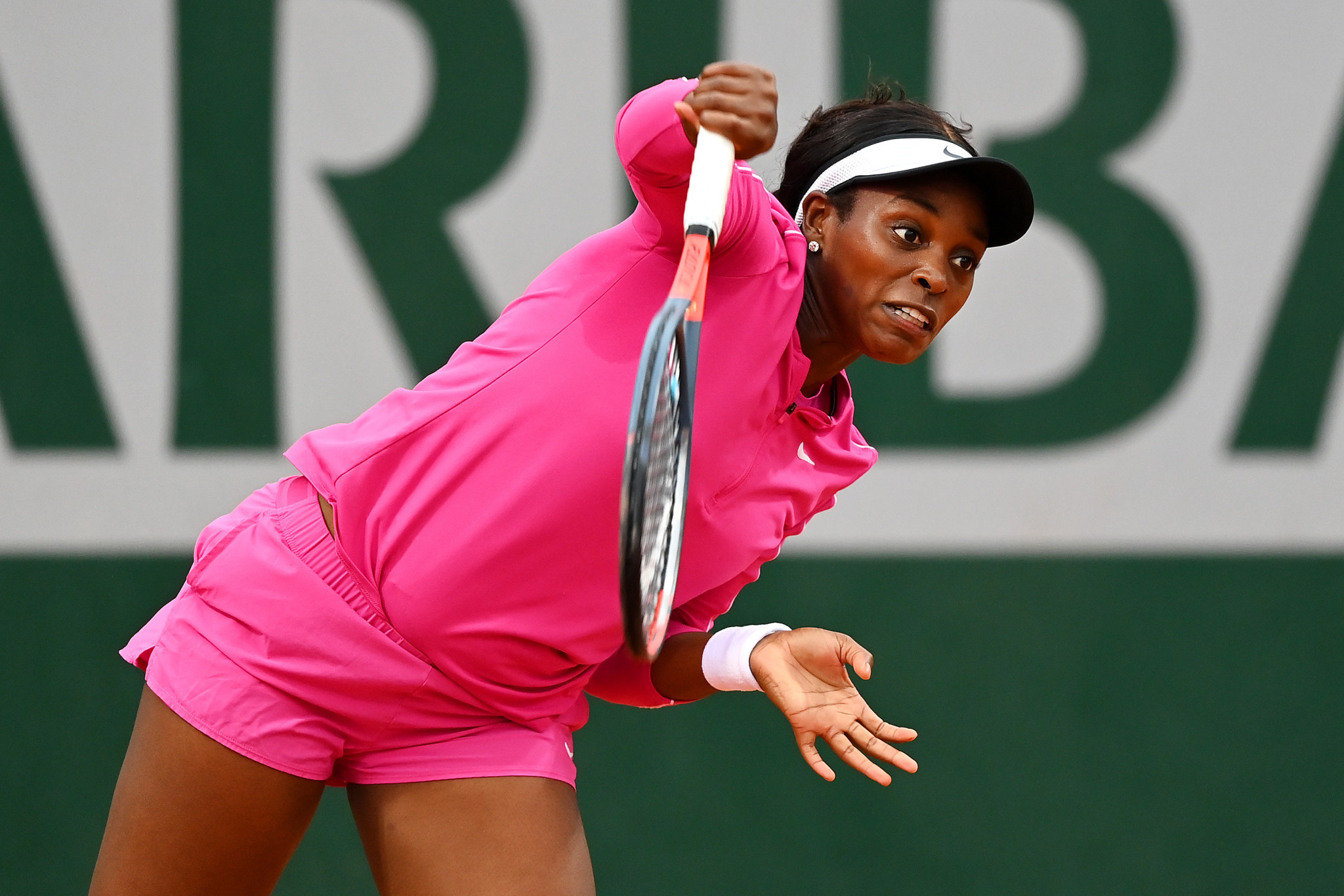 American Sloane Stephens, dressed all in pink, recorded a comfortable win as she reached round two ©Getty Images