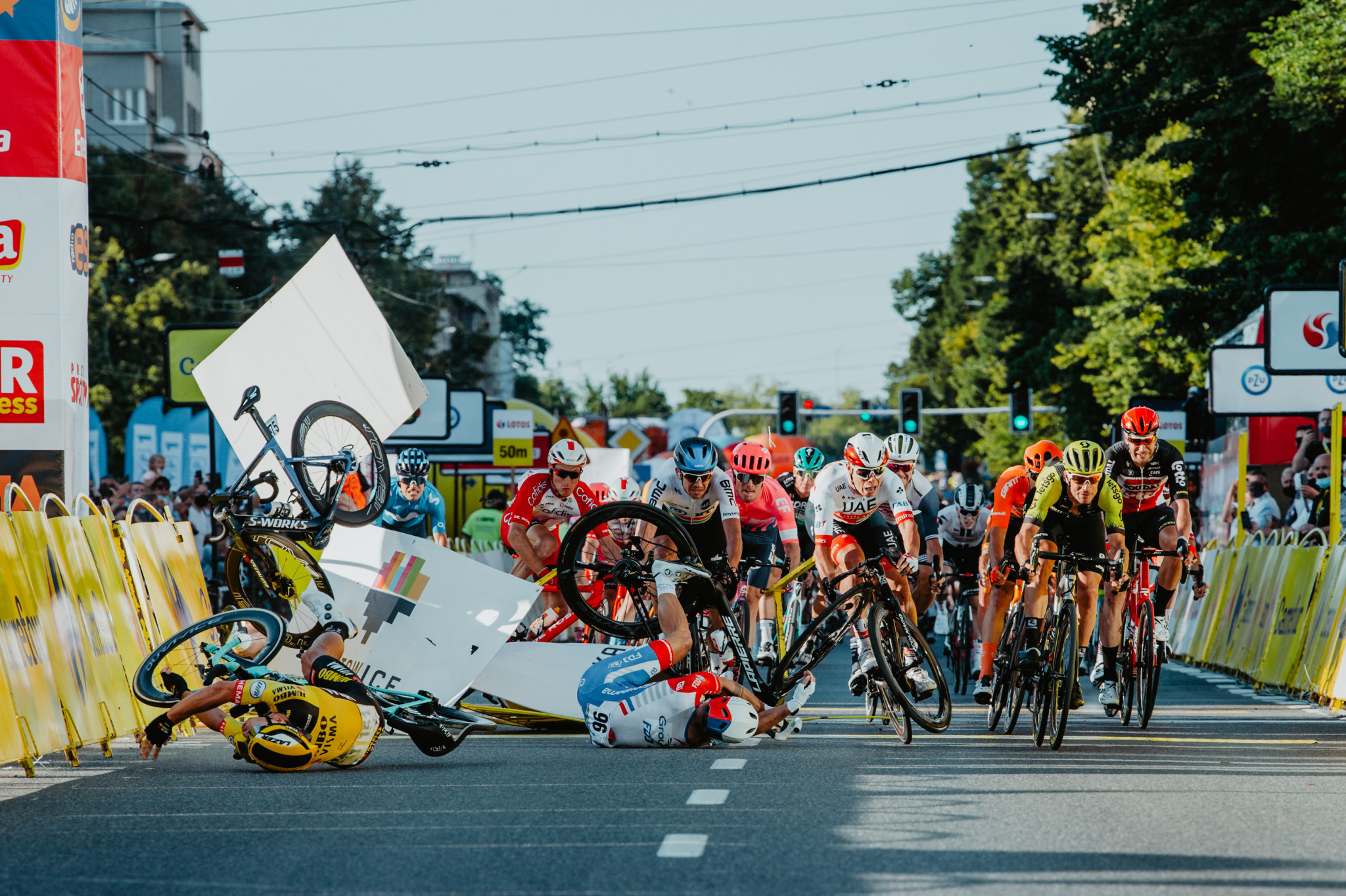 Fabio Jakobsen's crash at the Tour of Pologne was among the high-profile incidents since racing resumed ©Getty Images