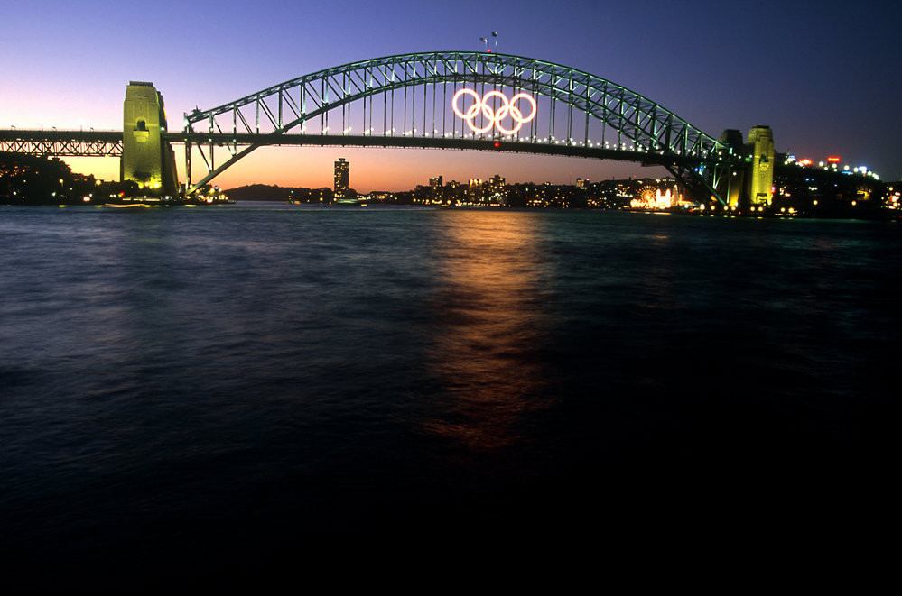 The Olympic Rings on Sydney Harbour Bridge were one of the iconic images of the 2000 Games but they nearly never happened ©Getty Images