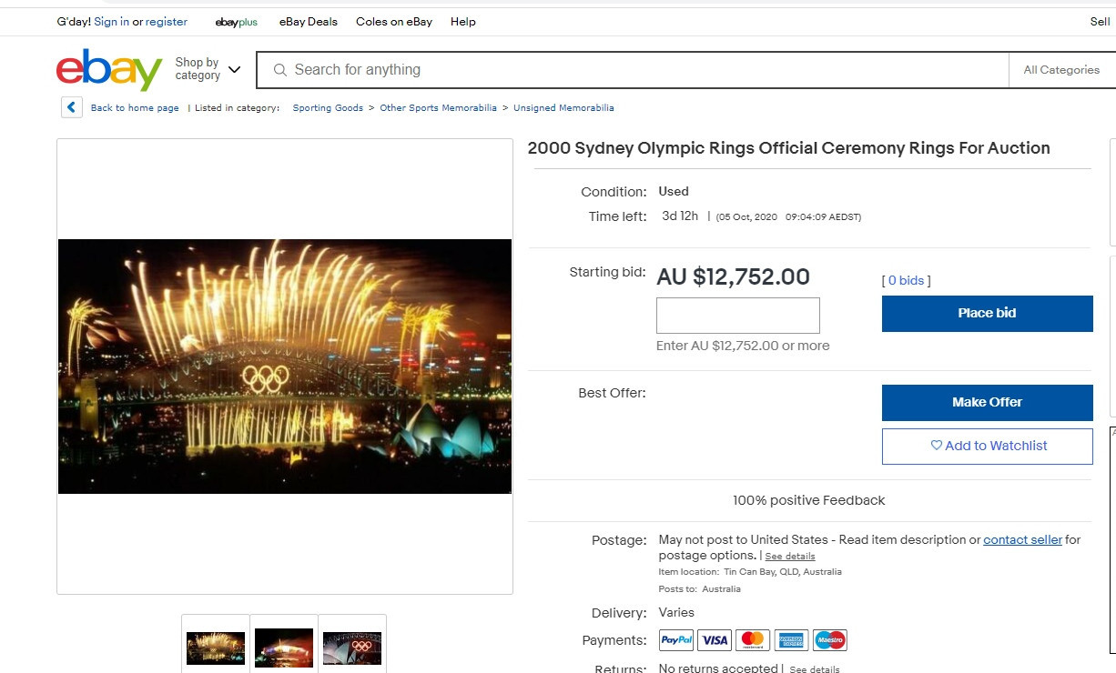 The Olympic Rings that adorned Sydney Harbour Bridge during the Games in 2000 are up for sale on eBay ©eBay