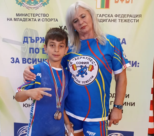 Coach Kristiana Koleva, a former international athlete, with one of her young champions at the Bulgarian Championships ©Kristiana Koleva