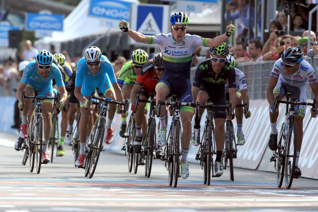 Orica-GrenEdge rider Simon Clarke took the pink jersey from teammate Michael Matthews by finishing second