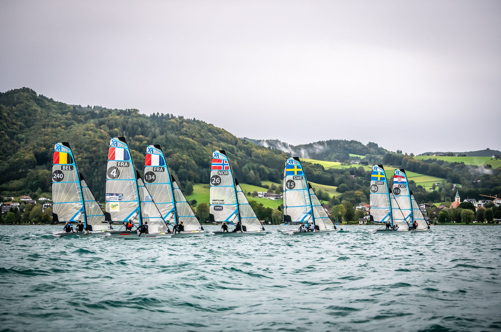 Weather conditions on Lake Attersee meant there was no racing in the 49erFX and Nacra 17 contests ©Tobias Stoerkle Photography