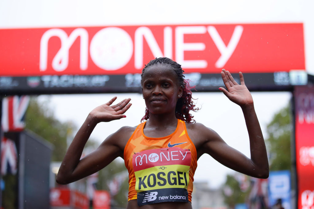 Brigid Kosgei justified her billing as the clear favourite as she eased to victory in the women's race ©Getty Images