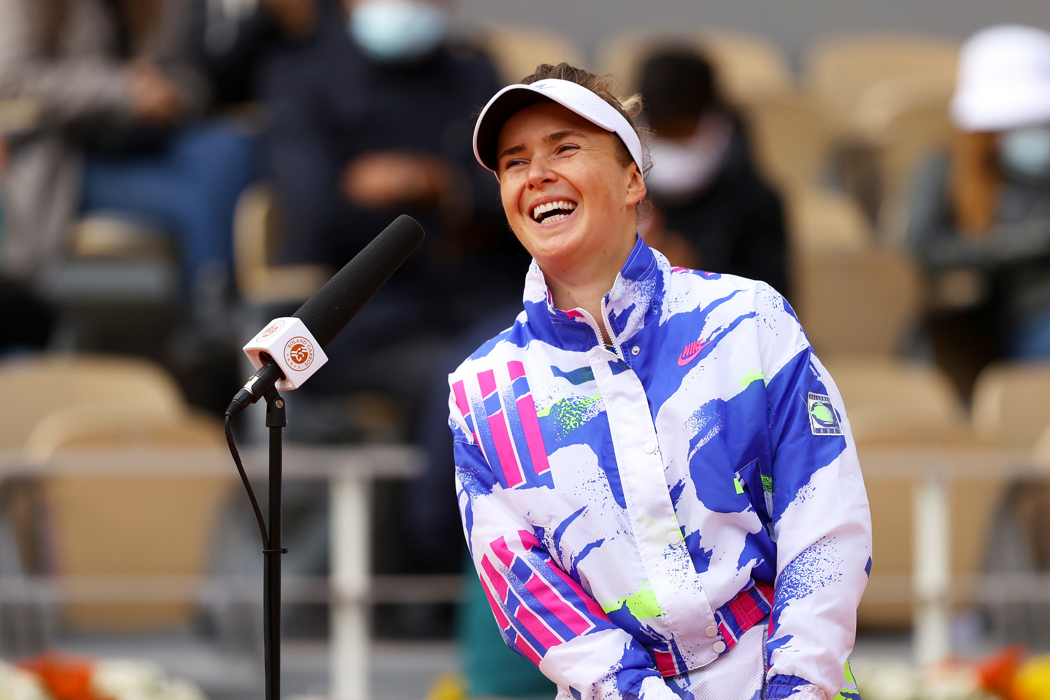 Third seed Elina Svitolina enjoys a giggle during her post-match interview after reaching the quarter-finals ©Getty Images