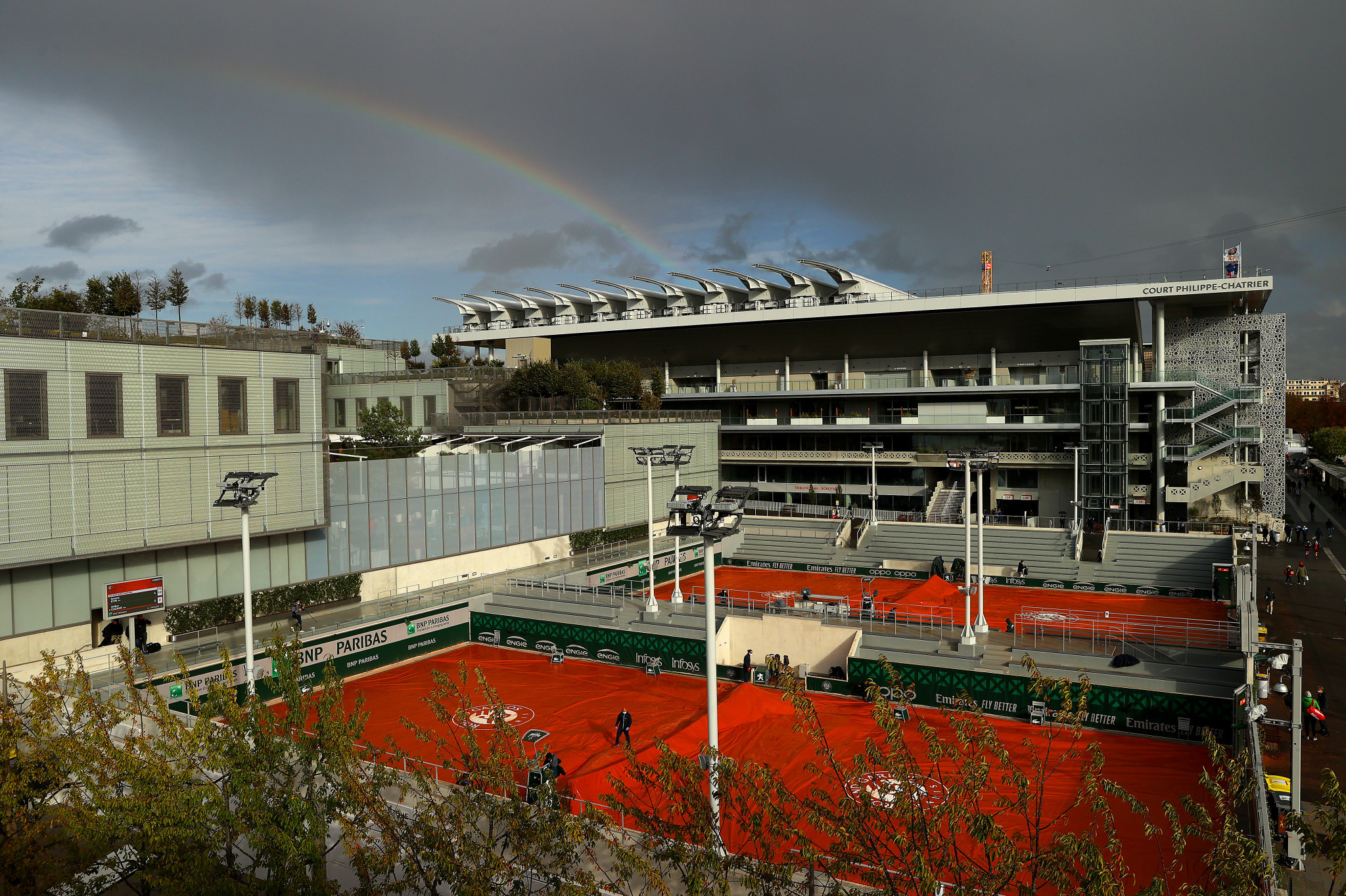 On a variable day of weather, a rainbow could be seen over the Roland Garros complex ©Getty Images