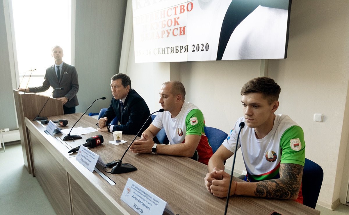 Following the youth competition, a media conference was held to discuss topics including the development of karate in Belarus ©Alexander Shelakov/Belarus Karate Federation