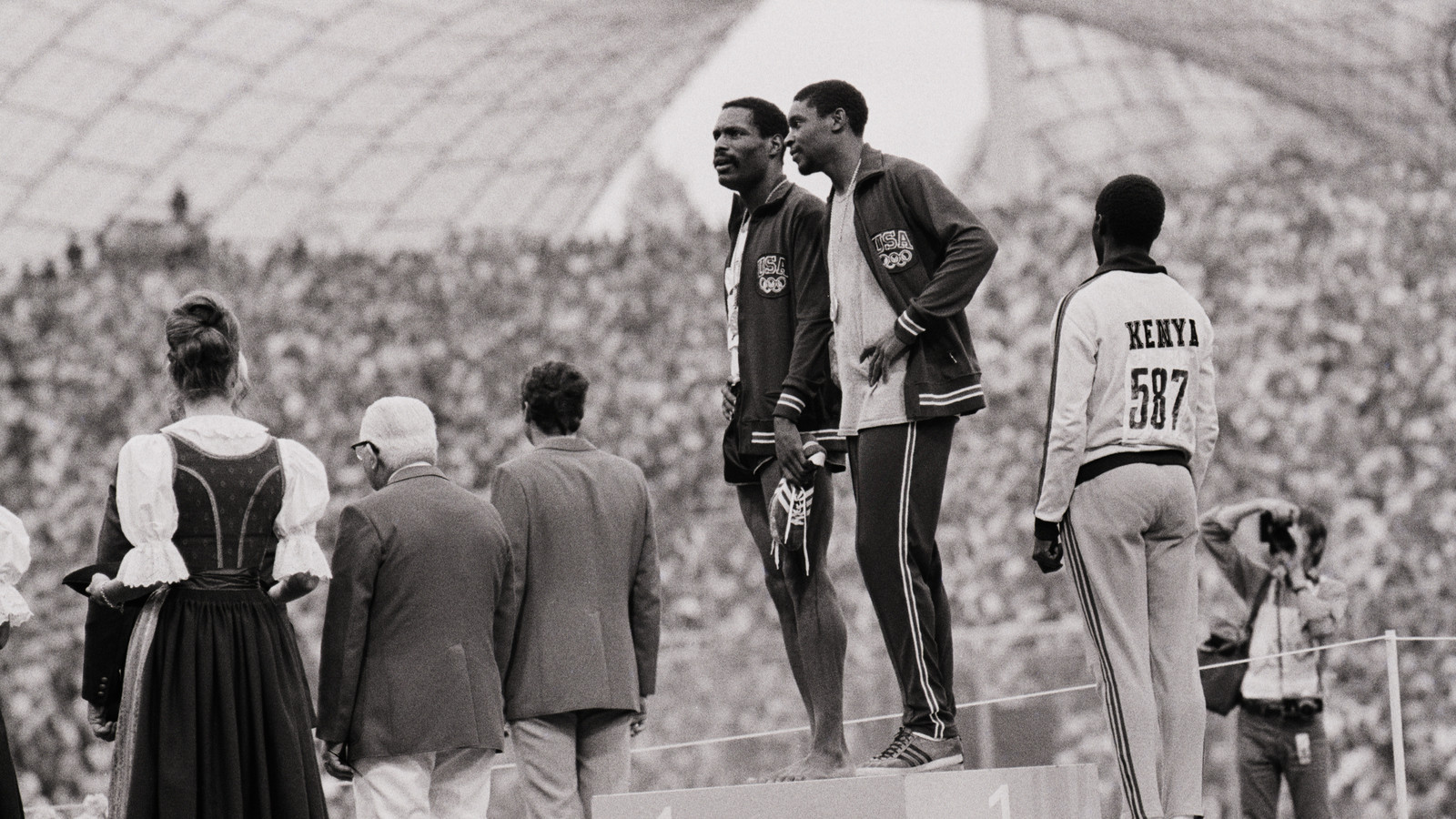 Brian Lewis argues that Rule 50 has racist roots and was introduced following the podium protest by American sprinters Vincent Matthews and Wayne Collett at the 1972 Olympic Games in Munich ©Getty Images