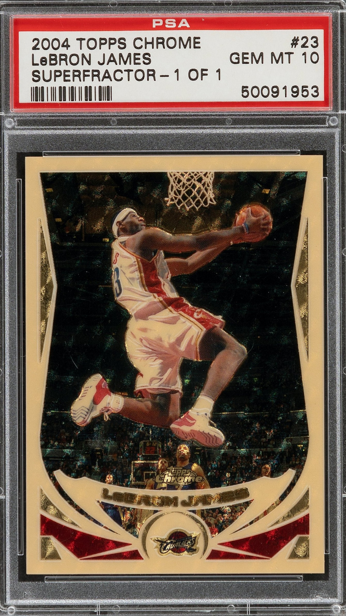 A Topps Chrome trading card from 2004 featuring LeBron James has sold for $720,000 - more than half-a-million dollars above the pre-sale estimate ©Heritage Auctions