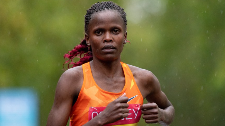 Wind and rain thwarted London Marathon winner Brigid Kosgei's ambition of breaking the women-only world record yesterday ©Getty Images