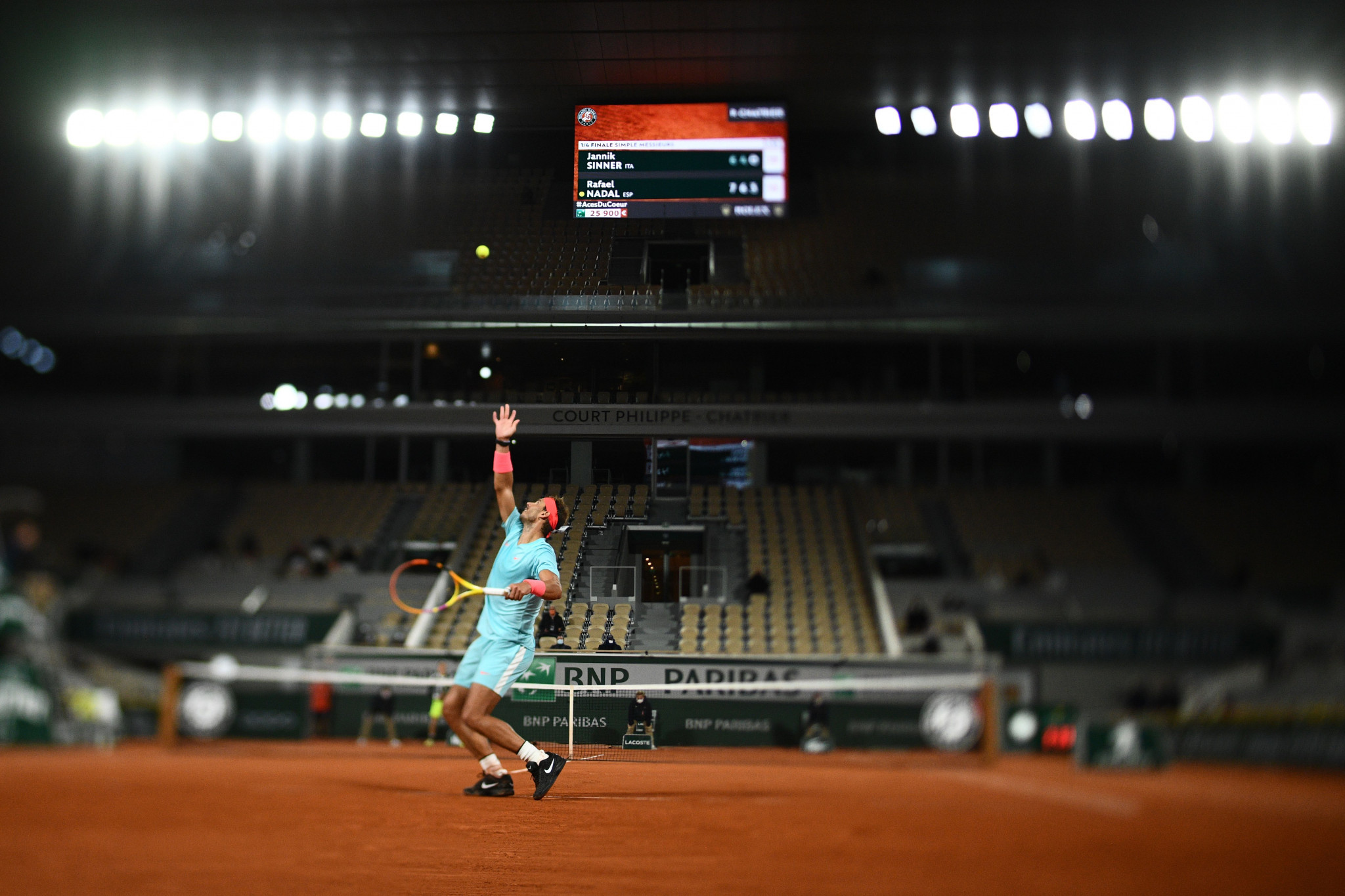 Rafael Nadal defeated Jannik Sinner of Italy in straight sets in a match that recorded the latest ever finish at Roland Garros - 1.26am local time ©Getty Images