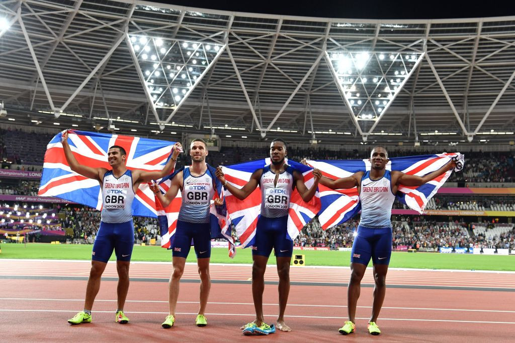 Britain's men won the world 4x100m title in London in 2017 ©Getty Images