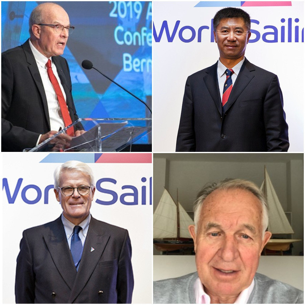 The four men contesting World Sailing's top role - top left incumbent Kim Andersen, top right Quanhai Li, bottom left Scott Perry and bottom right Gerardo Seeliger ©ITG